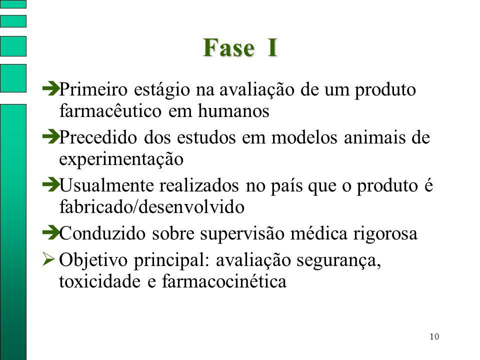 Fase I Primeiro estágio na avaliação de um produto farmacêutico em humanos. Precedido dos estudos em modelos animais de experimentação.