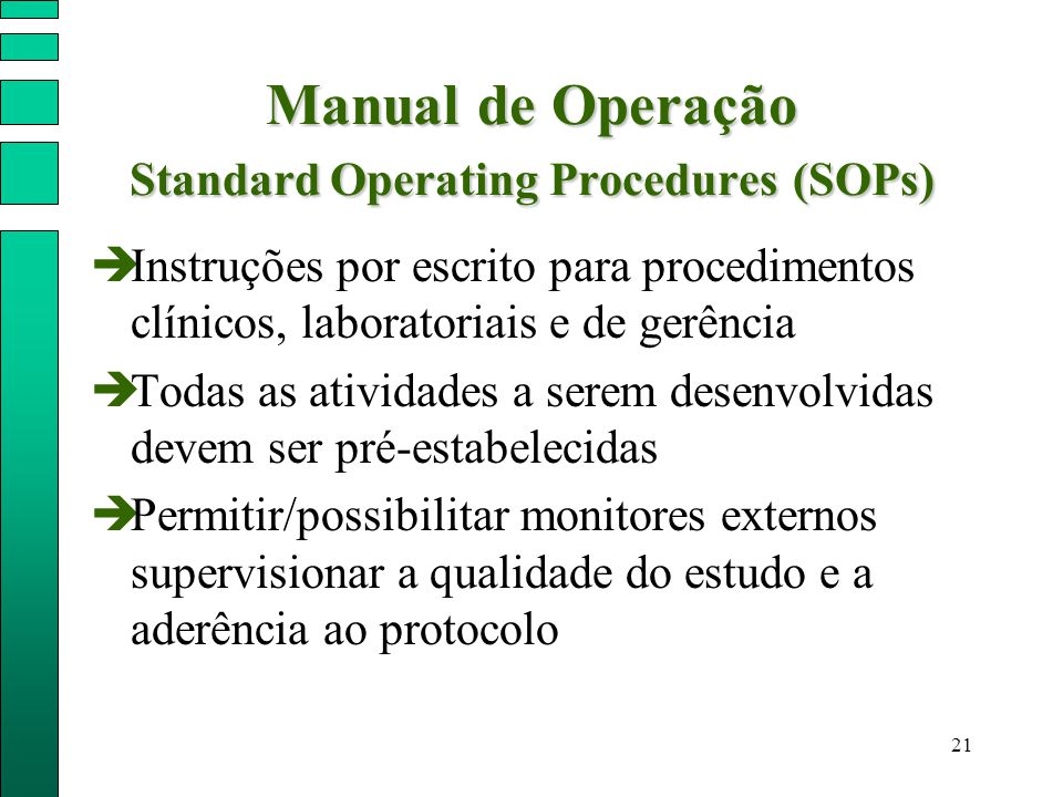 Manual de Operação Standard Operating Procedures (SOPs)