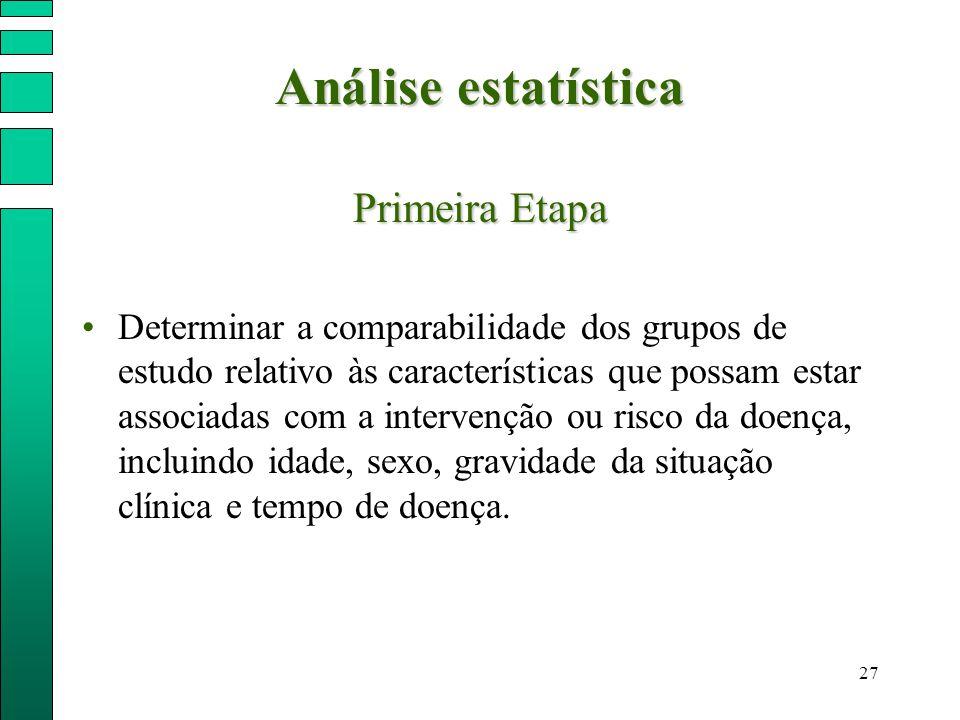 Análise estatística Primeira Etapa