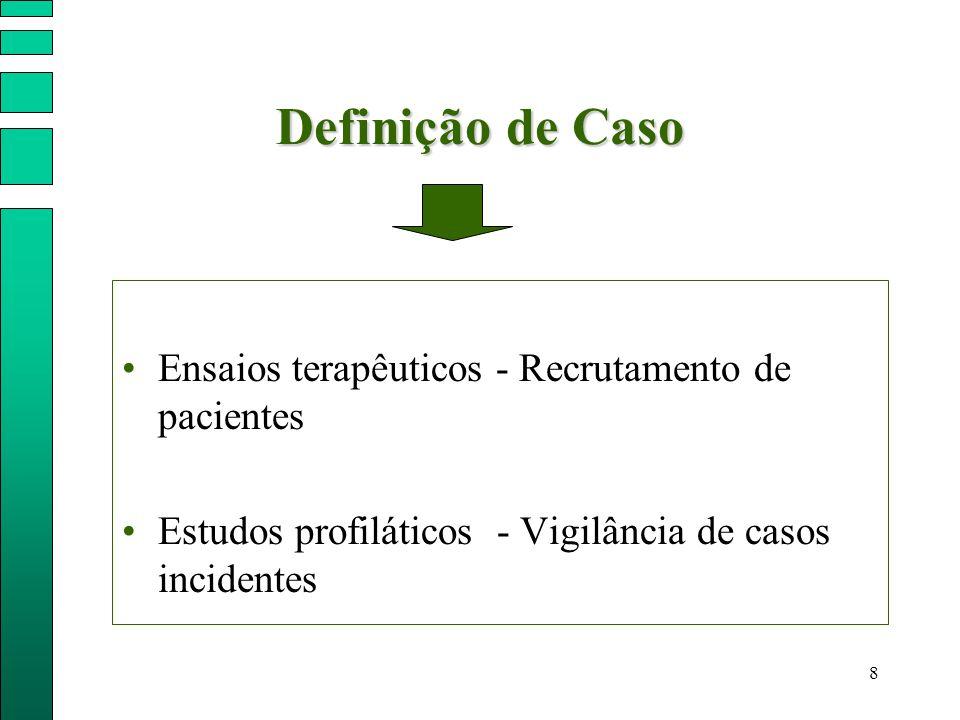 Definição de Caso Ensaios terapêuticos - Recrutamento de pacientes
