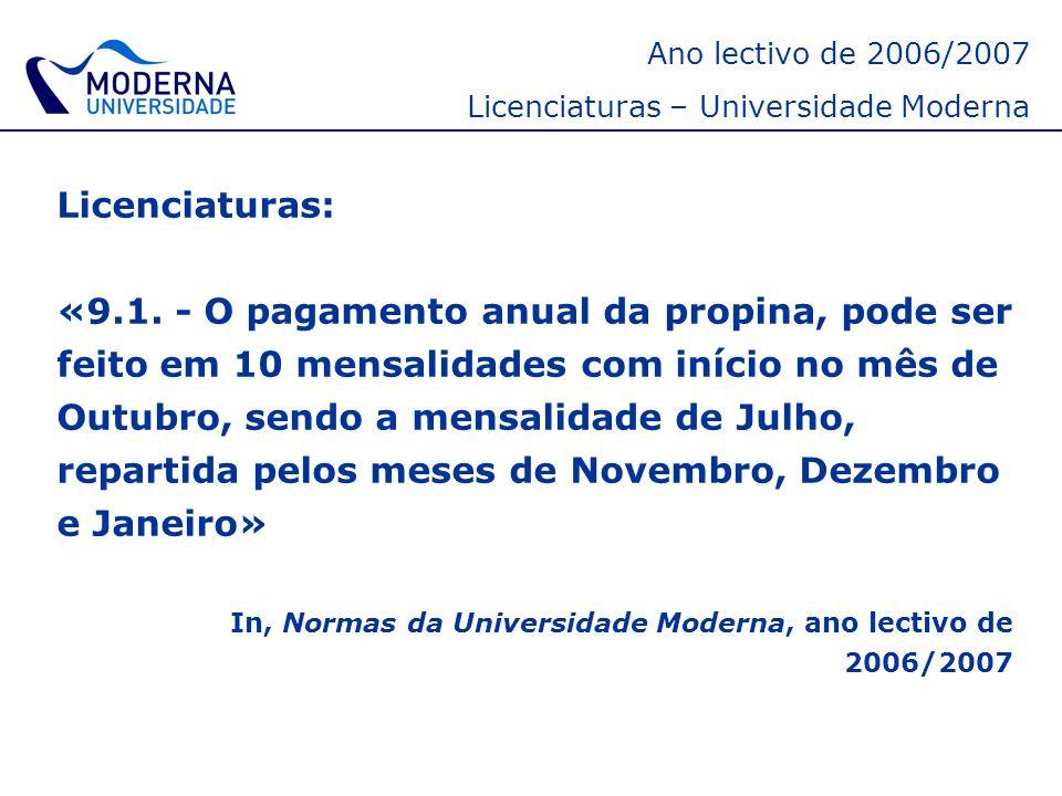 Ano lectivo de 2006/2007 Licenciaturas – Universidade Moderna. Licenciaturas: