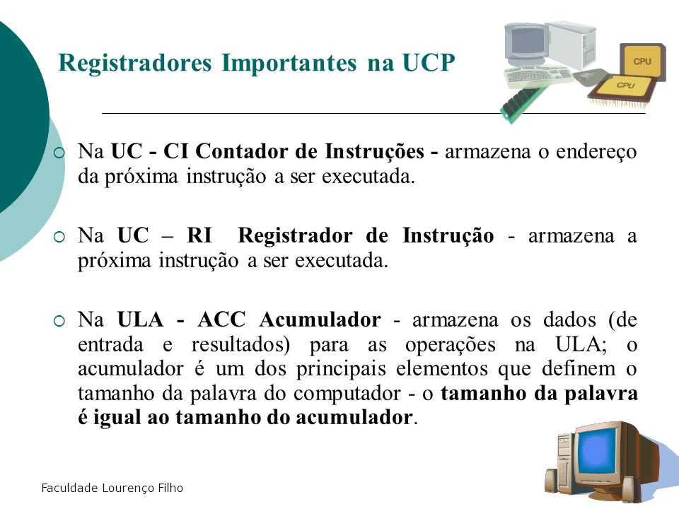 Registradores Importantes na UCP