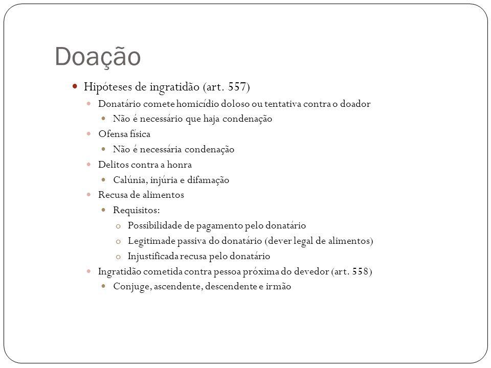 Doação Hipóteses de ingratidão (art. 557)