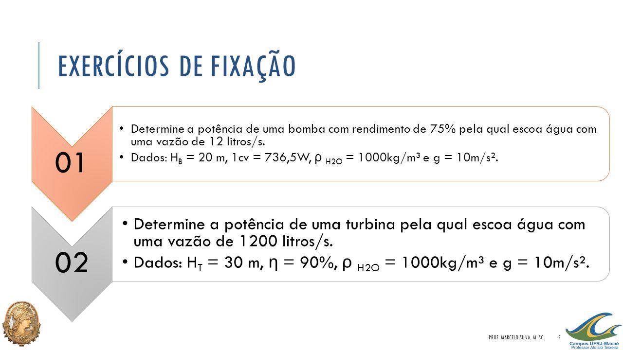 Exercícios de Fixação 01. Determine a potência de uma bomba com rendimento de 75% pela qual escoa água com uma vazão de 12 litros/s.