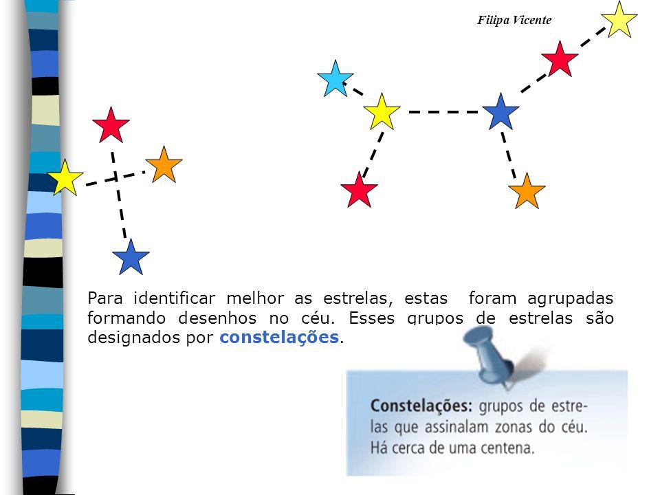 Para identificar melhor as estrelas, estas foram agrupadas formando desenhos no céu.