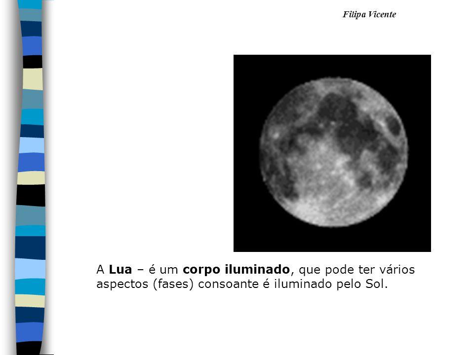 A Lua – é um corpo iluminado, que pode ter vários aspectos (fases) consoante é iluminado pelo Sol.