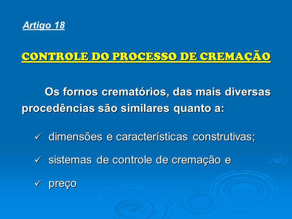 CONTROLE DO PROCESSO DE CREMAÇÃO