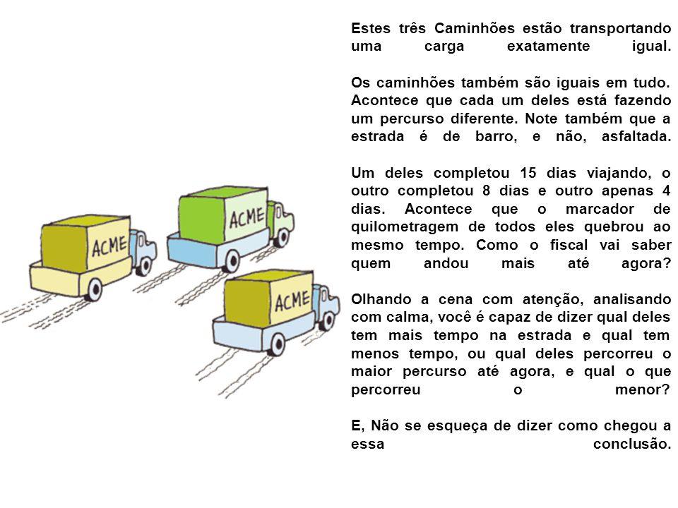 Estes três Caminhões estão transportando uma carga exatamente igual