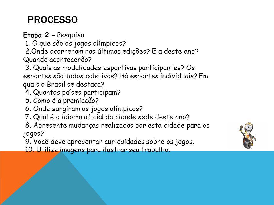 processo Etapa 2 – Pesquisa 1. O que são os jogos olímpicos