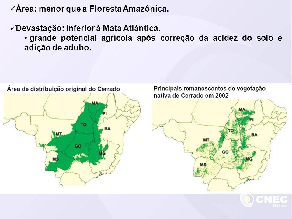 Área: menor que a Floresta Amazônica.