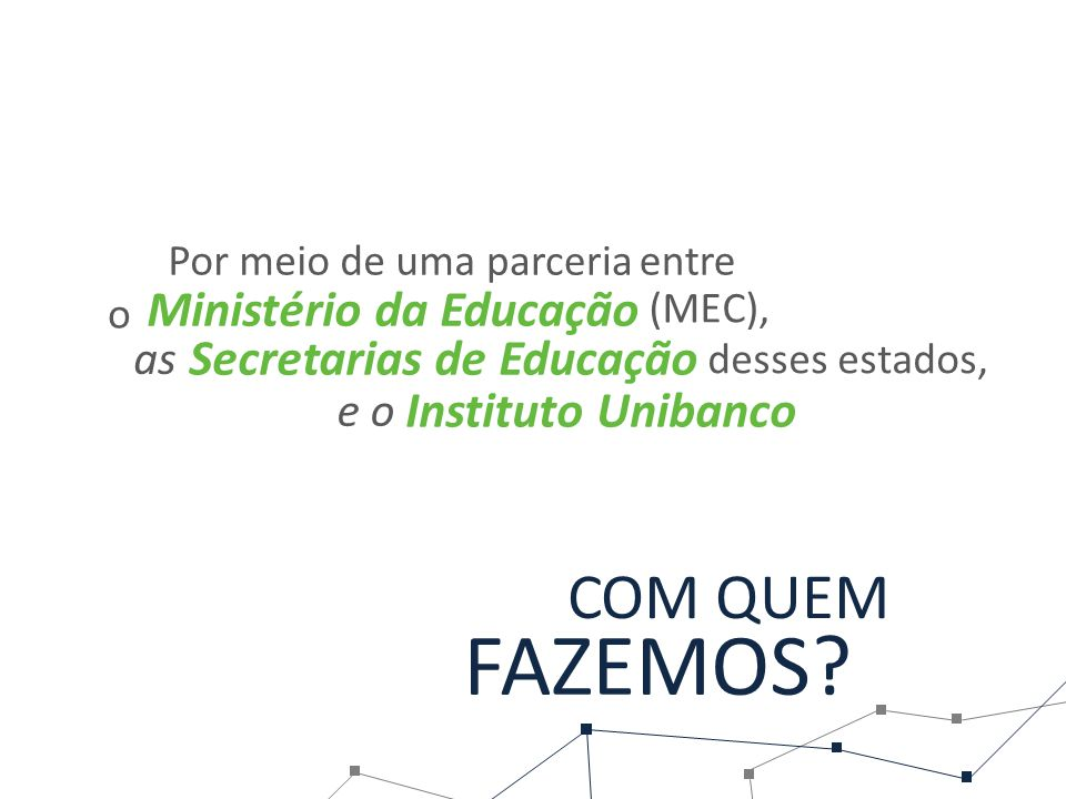 FAZEMOS COM QUEM Ministério da Educação Secretarias de Educação