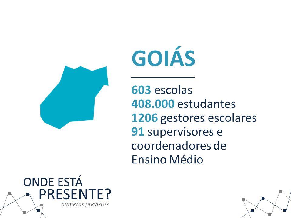 GOIÁS PRESENTE 603 escolas 408.000 estudantes 1206 gestores escolares