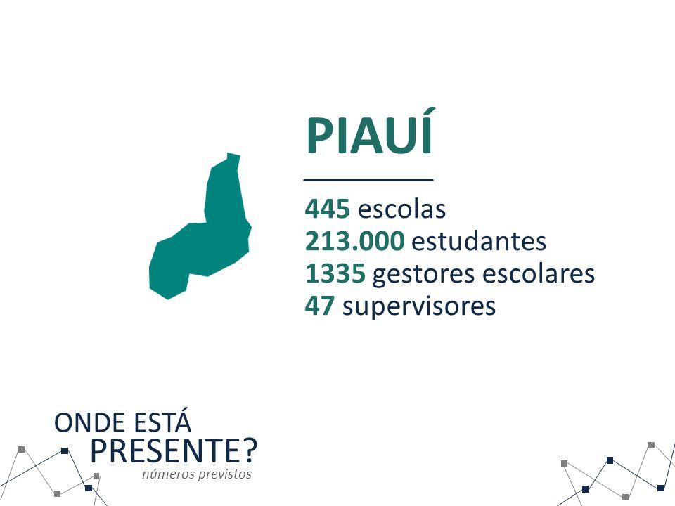 PIAUÍ PRESENTE 445 escolas 213.000 estudantes 1335 gestores escolares