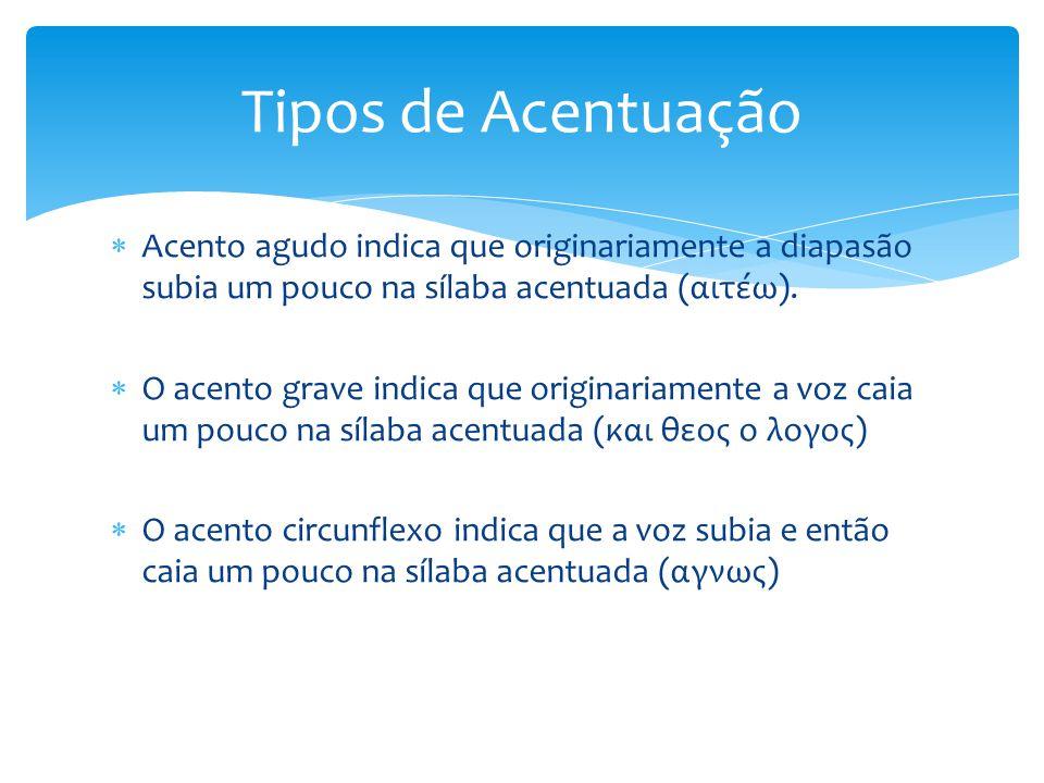 Tipos de Acentuação Acento agudo indica que originariamente a diapasão subia um pouco na sílaba acentuada (αιτέω).