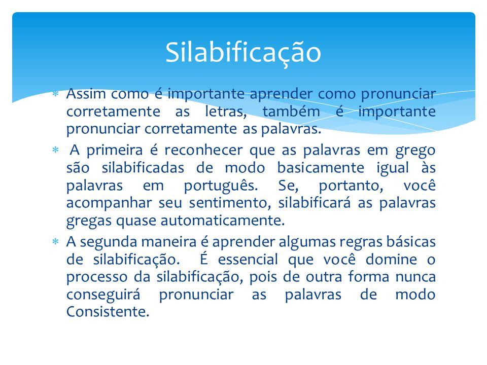 Silabificação Assim como é importante aprender como pronunciar corretamente as letras, também é importante pronunciar corretamente as palavras.