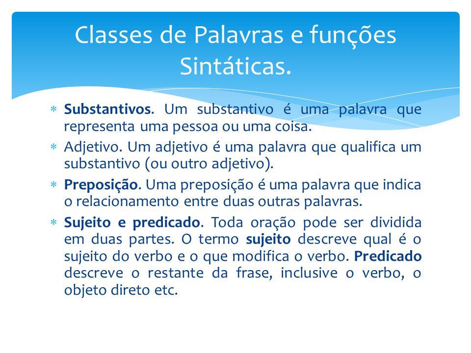 Classes de Palavras e funções Sintáticas.
