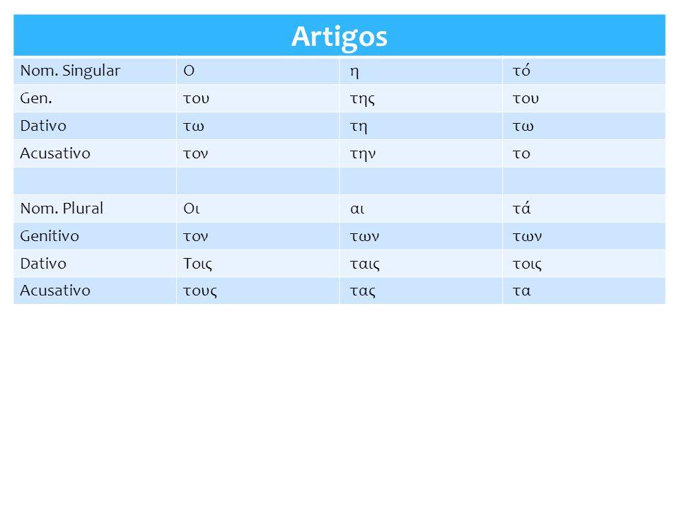 Artigos Nom. Singular Ο η τό Gen. του της Dativo τω τη Acusativo τον