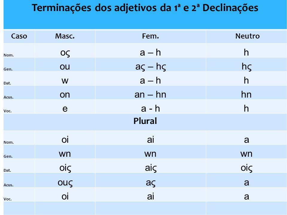Terminações dos adjetivos da 1ª e 2ª Declinações