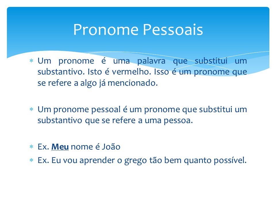 Pronome Pessoais Um pronome é uma palavra que substitui um substantivo. Isto é vermelho. Isso é um pronome que se refere a algo já mencionado.