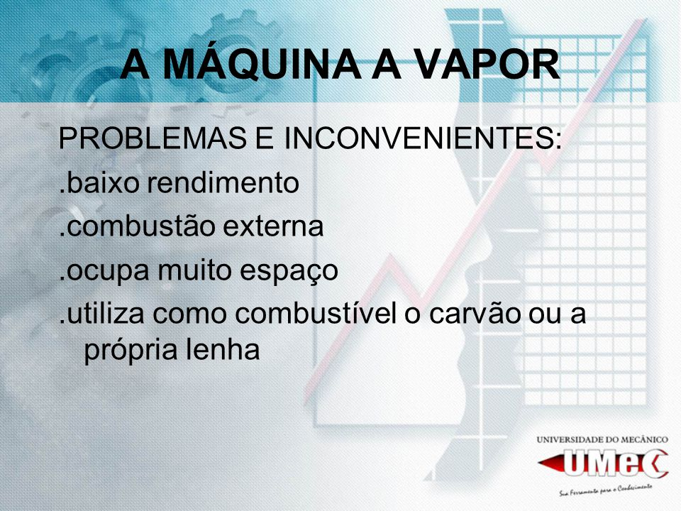 A MÁQUINA A VAPOR PROBLEMAS E INCONVENIENTES: .baixo rendimento