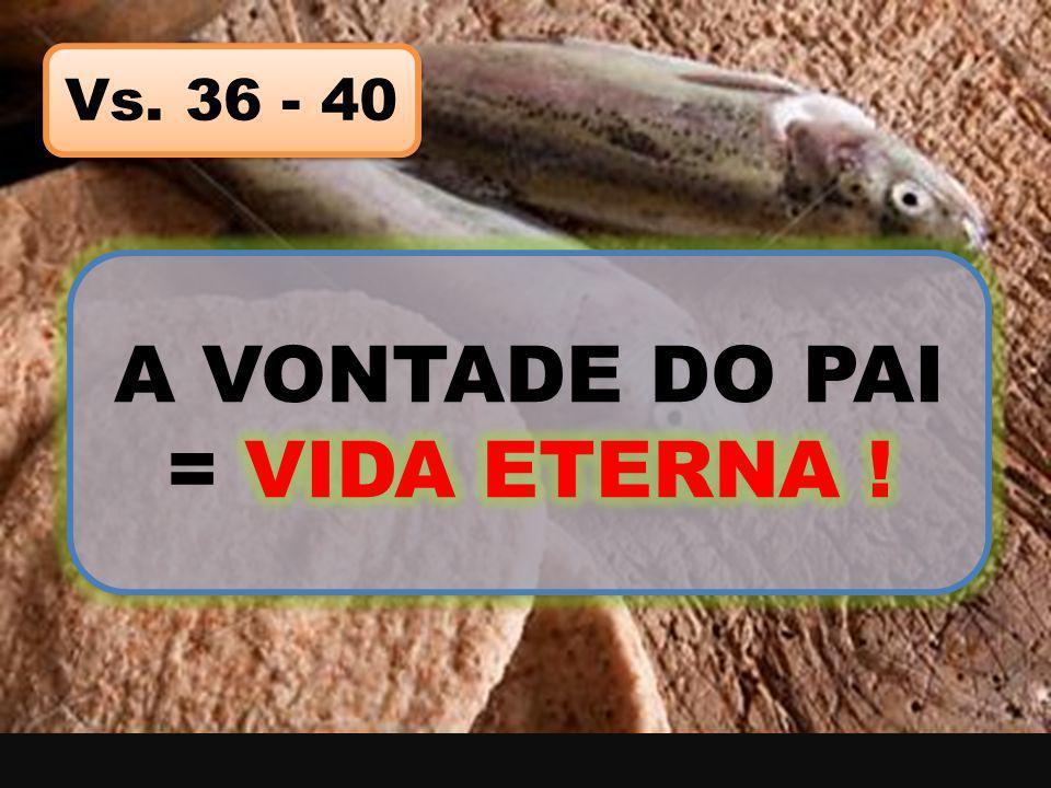 A VONTADE DO PAI = VIDA ETERNA !