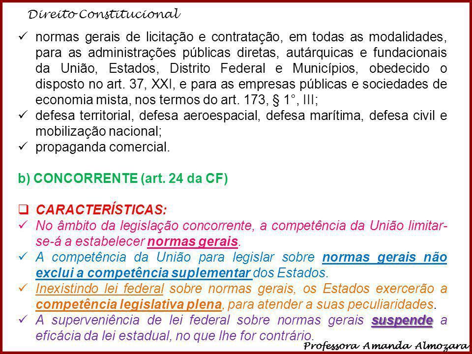 b) CONCORRENTE (art. 24 da CF) CARACTERÍSTICAS: