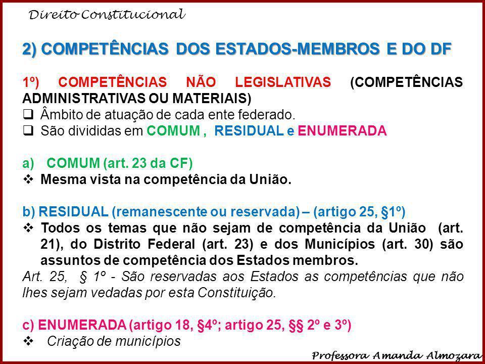 2) COMPETÊNCIAS DOS ESTADOS-MEMBROS E DO DF