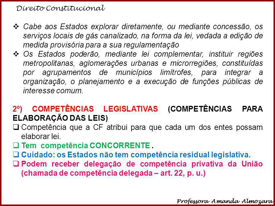 2º) COMPETÊNCIAS LEGISLATIVAS (COMPETÊNCIAS PARA ELABORAÇÃO DAS LEIS)