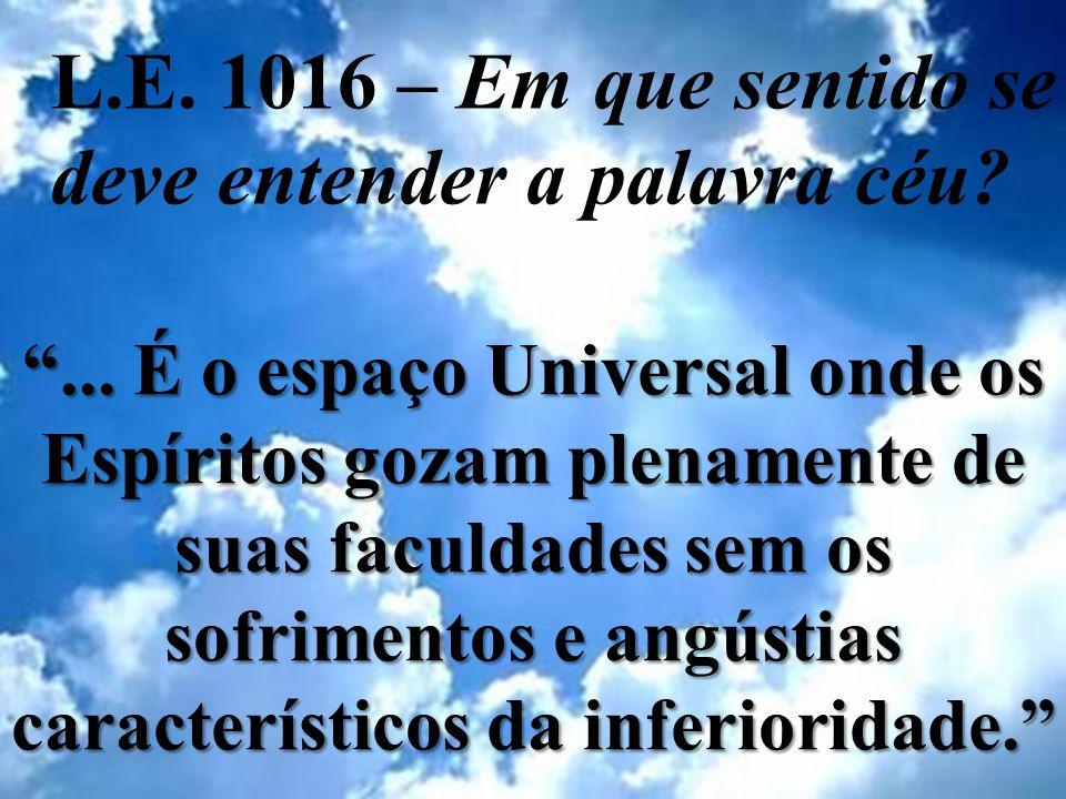 L.E. 1016 – Em que sentido se deve entender a palavra céu