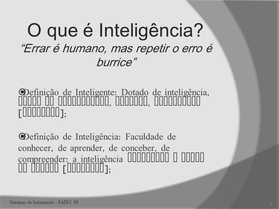 O que é Inteligência Errar é humano, mas repetir o erro é burrice