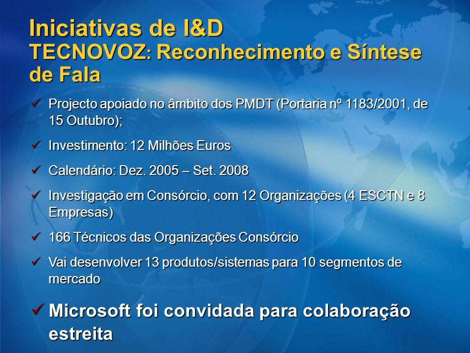 Iniciativas de I&D TECNOVOZ: Reconhecimento e Síntese de Fala