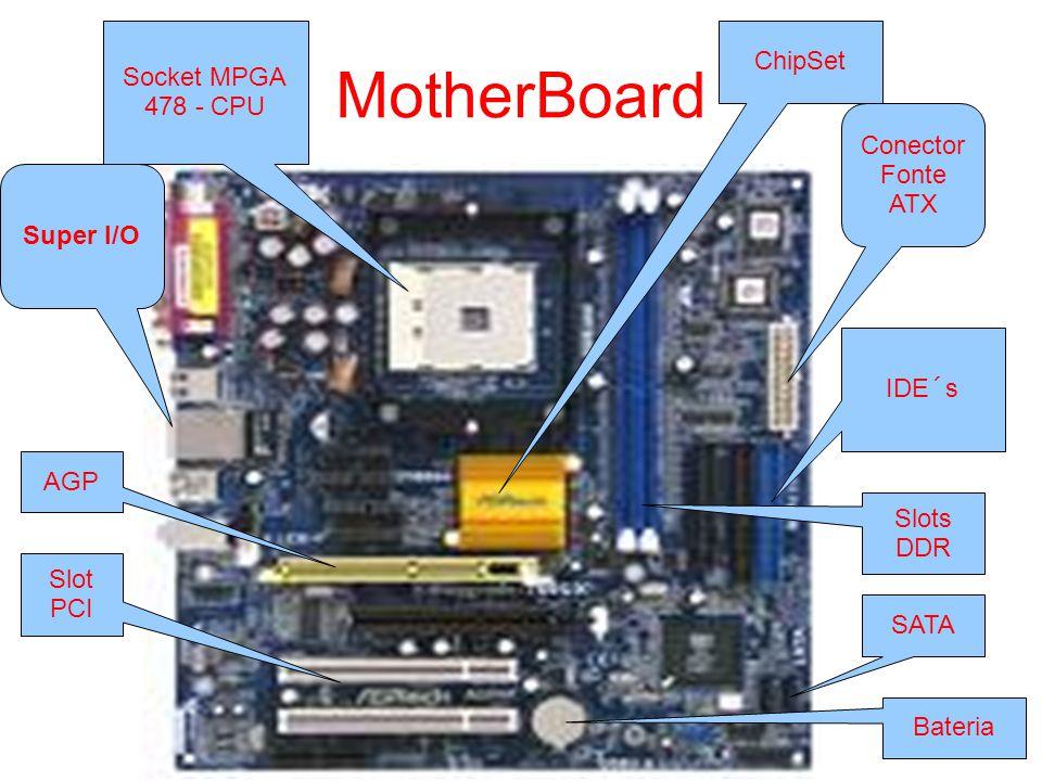 MotherBoard ChipSet Socket MPGA 478 - CPU Conector Fonte ATX Super I/O