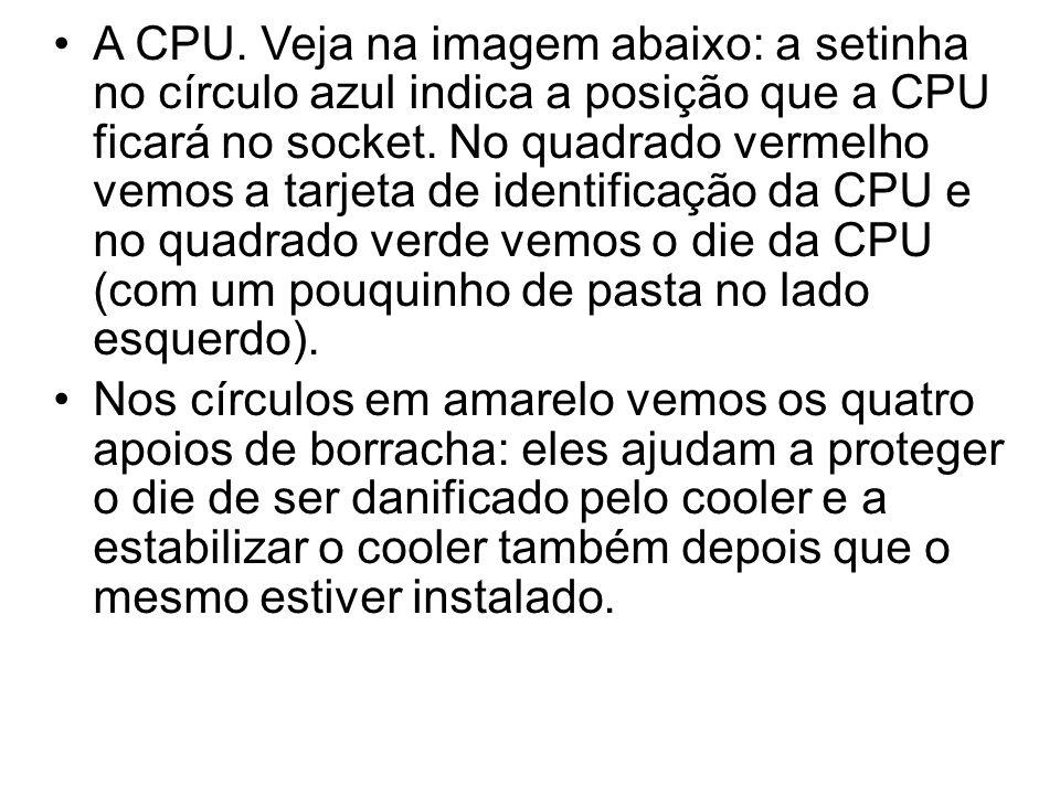 A CPU. Veja na imagem abaixo: a setinha no círculo azul indica a posição que a CPU ficará no socket. No quadrado vermelho vemos a tarjeta de identificação da CPU e no quadrado verde vemos o die da CPU (com um pouquinho de pasta no lado esquerdo).