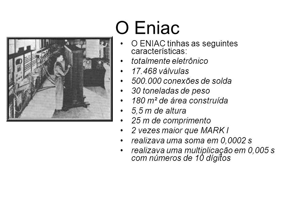 O Eniac O ENIAC tinhas as seguintes características: