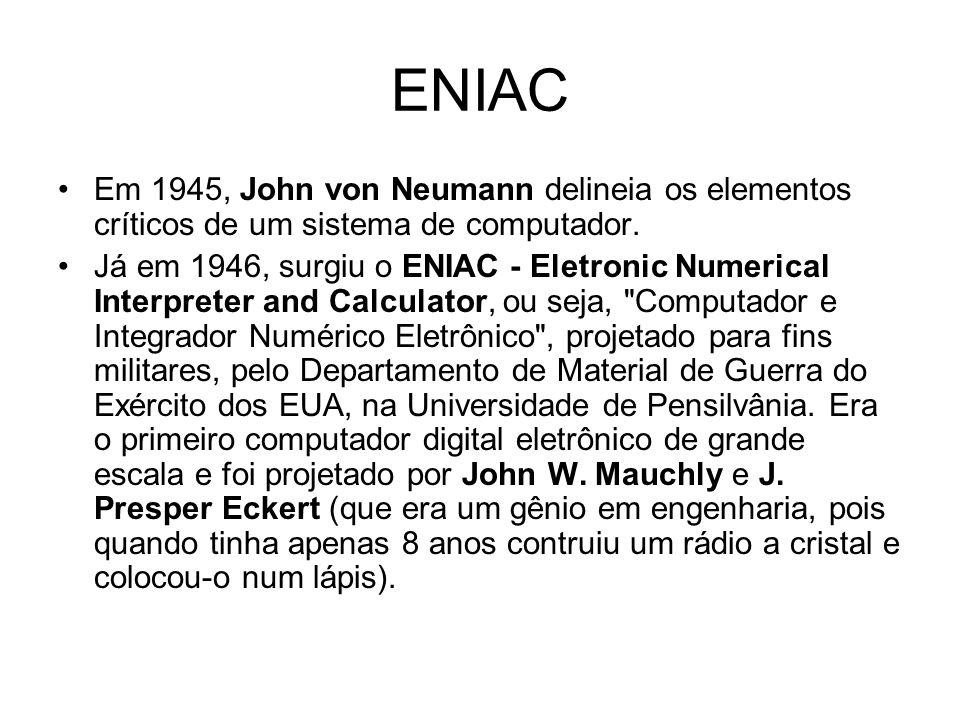 ENIAC Em 1945, John von Neumann delineia os elementos críticos de um sistema de computador.
