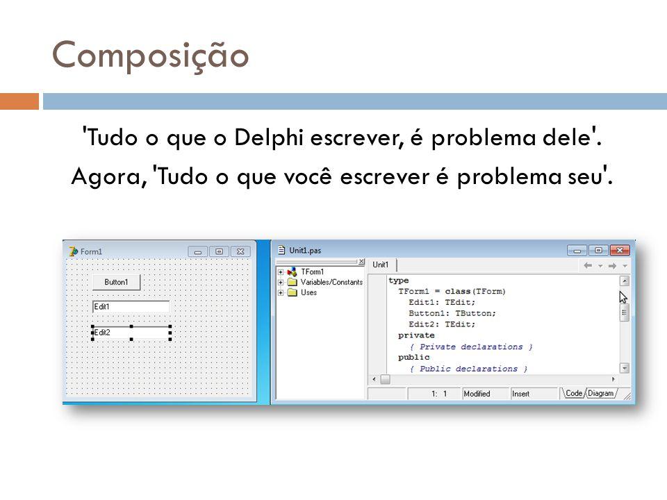 Composição Tudo o que o Delphi escrever, é problema dele .