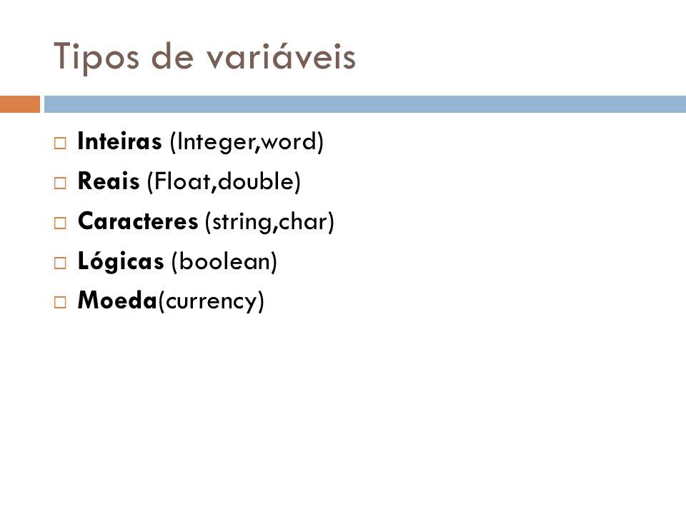 Tipos de variáveis Inteiras (Integer,word) Reais (Float,double)