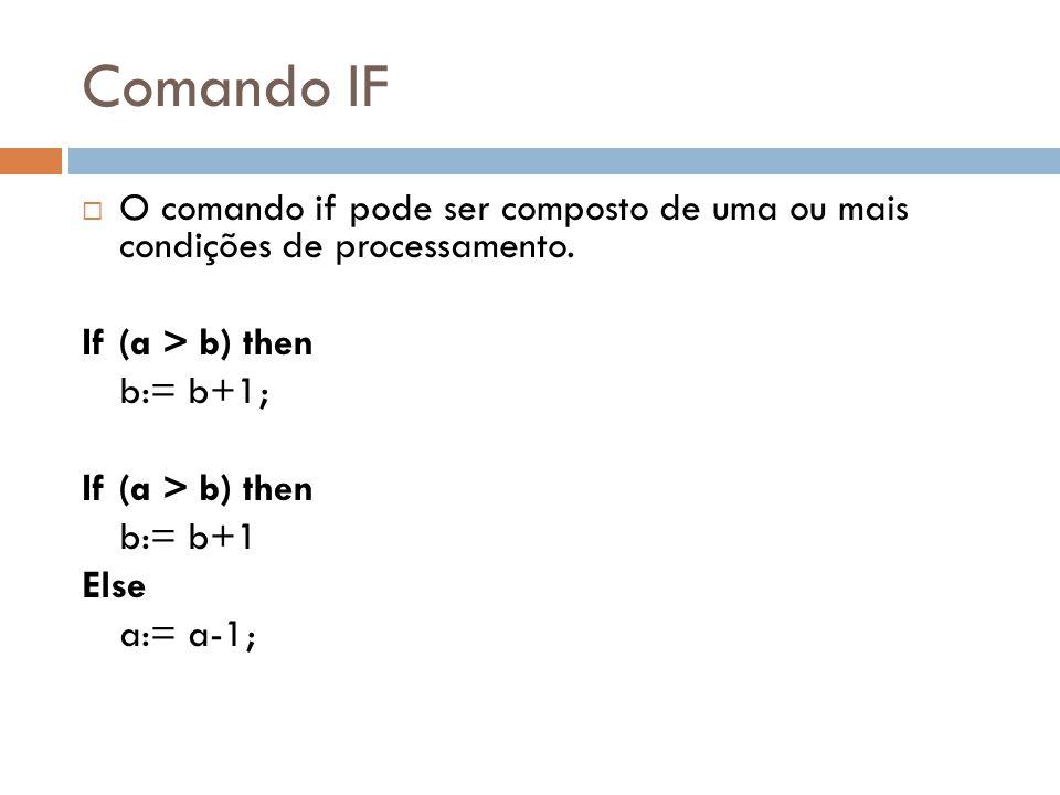 Comando IF O comando if pode ser composto de uma ou mais condições de processamento. If (a > b) then.