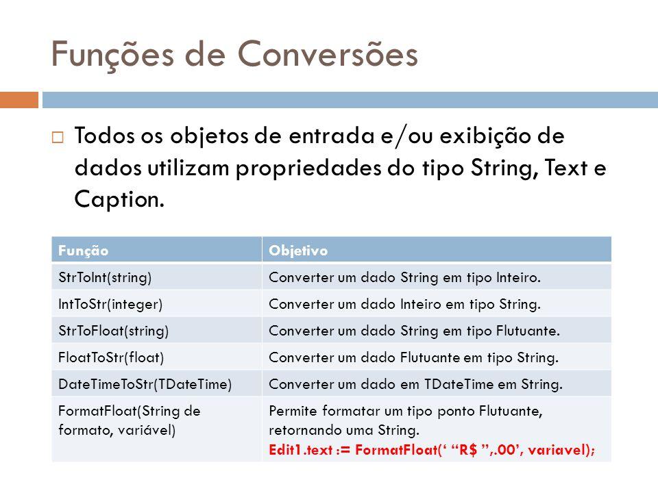 Funções de Conversões Todos os objetos de entrada e/ou exibição de dados utilizam propriedades do tipo String, Text e Caption.