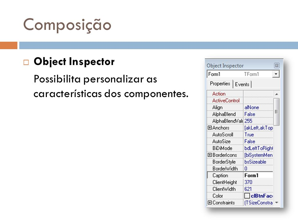 Composição Object Inspector
