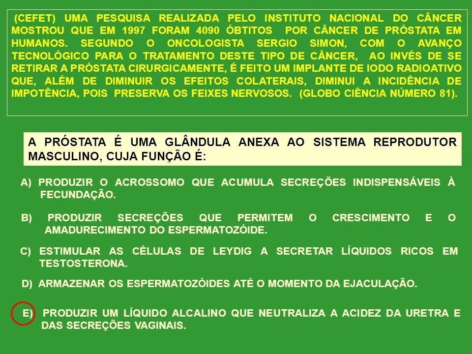 (CEFET) UMA PESQUISA REALIZADA PELO INSTITUTO NACIONAL DO CÂNCER MOSTROU QUE EM 1997 FORAM 4090 ÓBTITOS POR CÂNCER DE PRÓSTATA EM HUMANOS. SEGUNDO O ONCOLOGISTA SERGIO SIMON, COM O AVANÇO TECNOLÓGICO PARA O TRATAMENTO DESTE TIPO DE CÂNCER, AO INVÉS DE SE RETIRAR A PRÓSTATA CIRURGICAMENTE, É FEITO UM IMPLANTE DE IODO RADIOATIVO QUE, ALÉM DE DIMINUIR OS EFEITOS COLATERAIS, DIMINUI A INCIDÊNCIA DE IMPOTÊNCIA, POIS PRESERVA OS FEIXES NERVOSOS. (GLOBO CIÊNCIA NÚMERO 81).