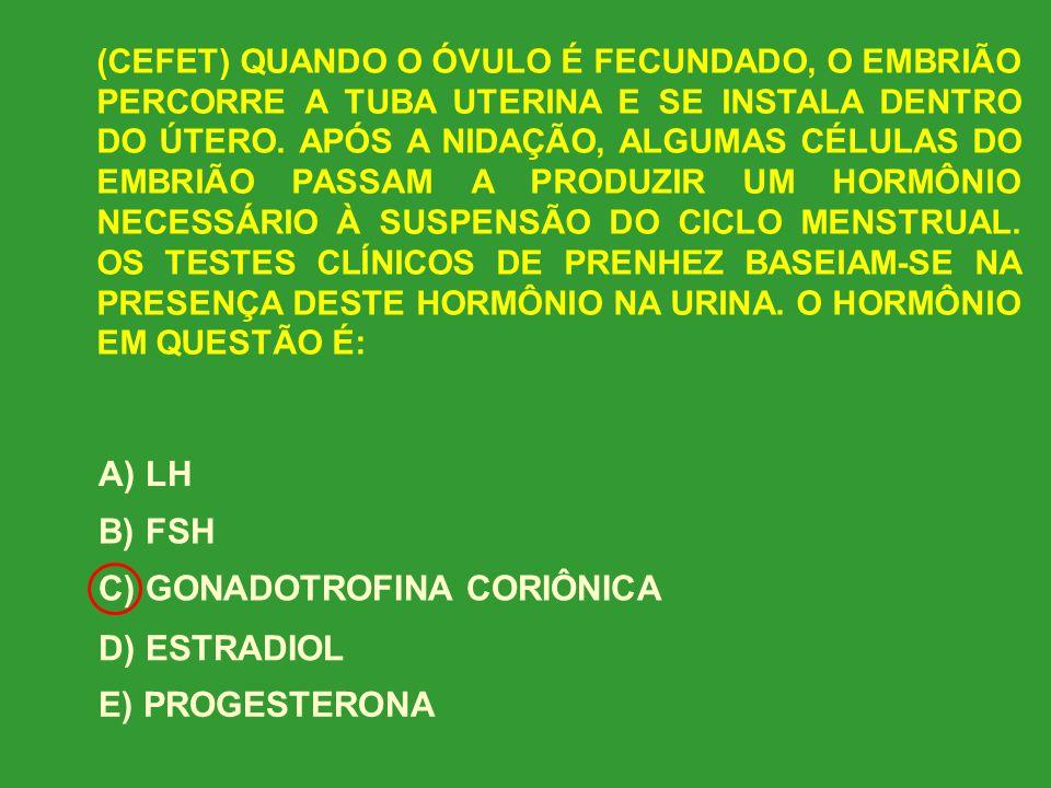 C) GONADOTROFINA CORIÔNICA