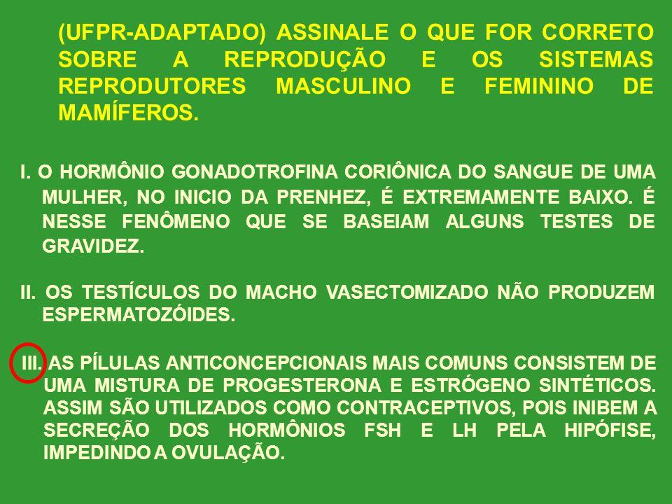(UFPR-ADAPTADO) ASSINALE O QUE FOR CORRETO SOBRE A REPRODUÇÃO E OS SISTEMAS REPRODUTORES MASCULINO E FEMININO DE MAMÍFEROS.