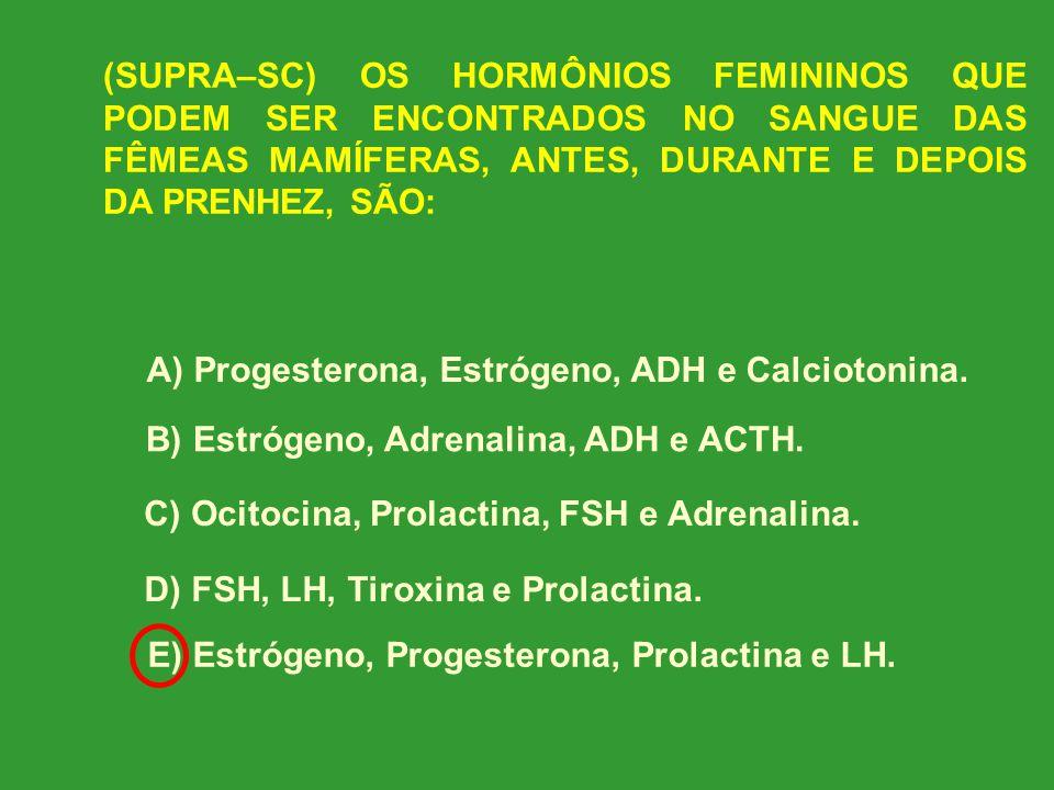 (SUPRA–SC) OS HORMÔNIOS FEMININOS QUE PODEM SER ENCONTRADOS NO SANGUE DAS FÊMEAS MAMÍFERAS, ANTES, DURANTE E DEPOIS DA PRENHEZ, SÃO: