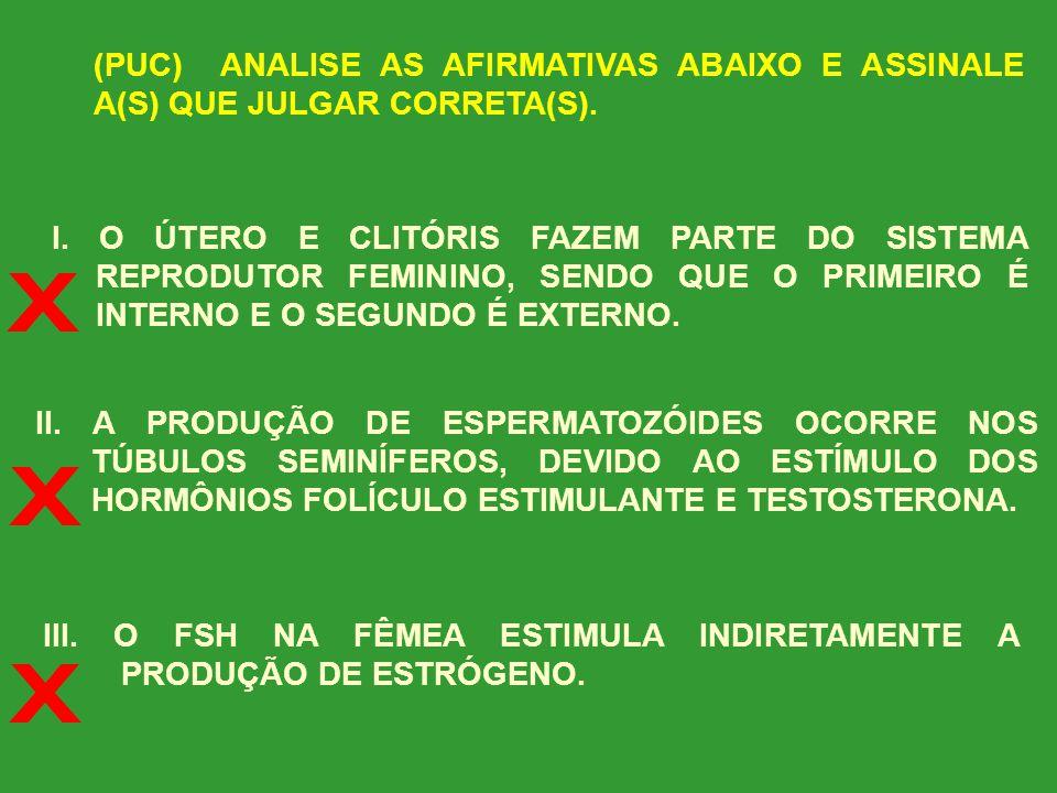(PUC) ANALISE AS AFIRMATIVAS ABAIXO E ASSINALE A(S) QUE JULGAR CORRETA(S).
