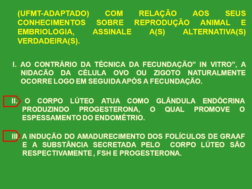 (UFMT-ADAPTADO) COM RELAÇÃO AOS SEUS CONHECIMENTOS SOBRE REPRODUÇÃO ANIMAL E EMBRIOLOGIA, ASSINALE A(S) ALTERNATIVA(S) VERDADEIRA(S).
