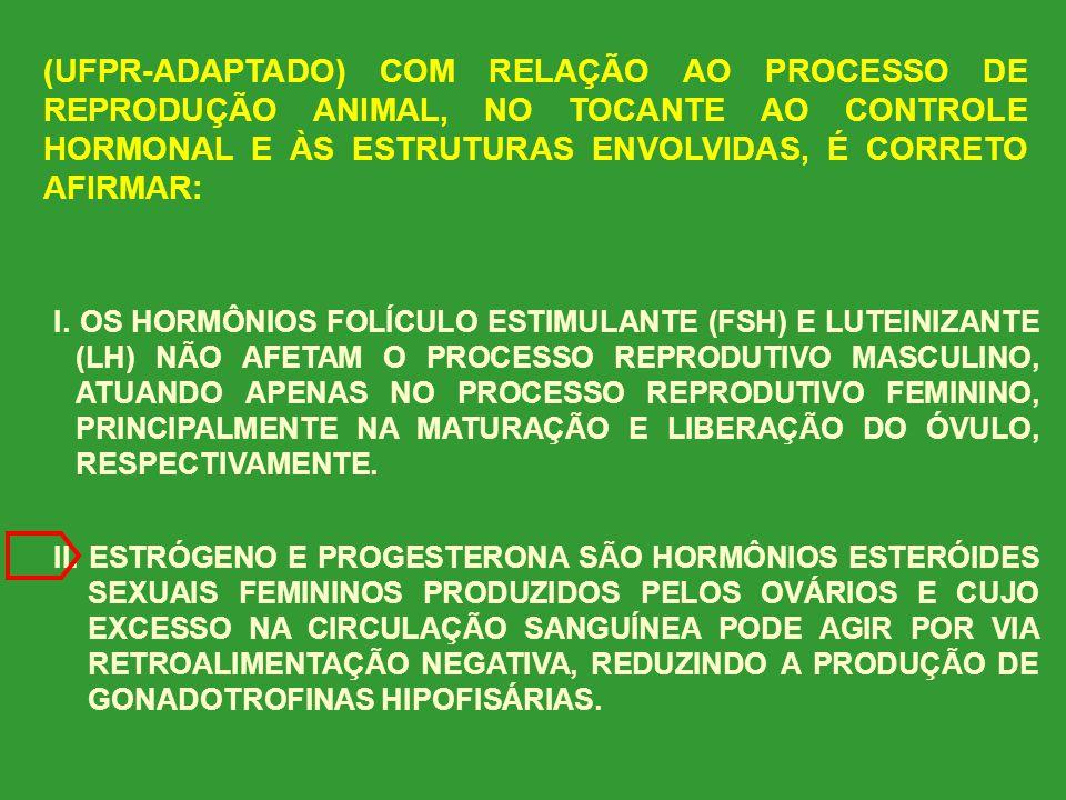 (UFPR-ADAPTADO) COM RELAÇÃO AO PROCESSO DE REPRODUÇÃO ANIMAL, NO TOCANTE AO CONTROLE HORMONAL E ÀS ESTRUTURAS ENVOLVIDAS, É CORRETO AFIRMAR: