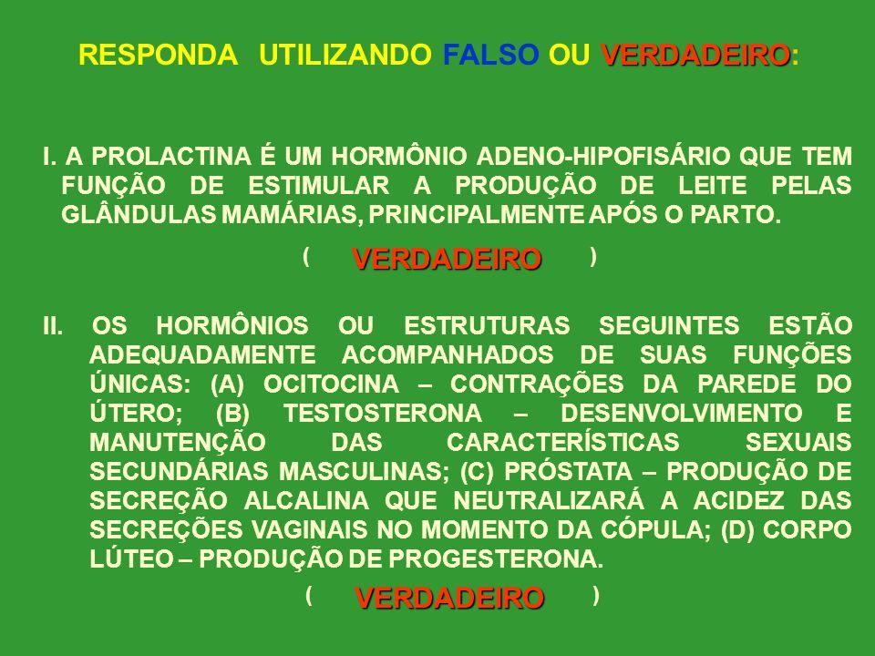 RESPONDA UTILIZANDO FALSO OU VERDADEIRO: