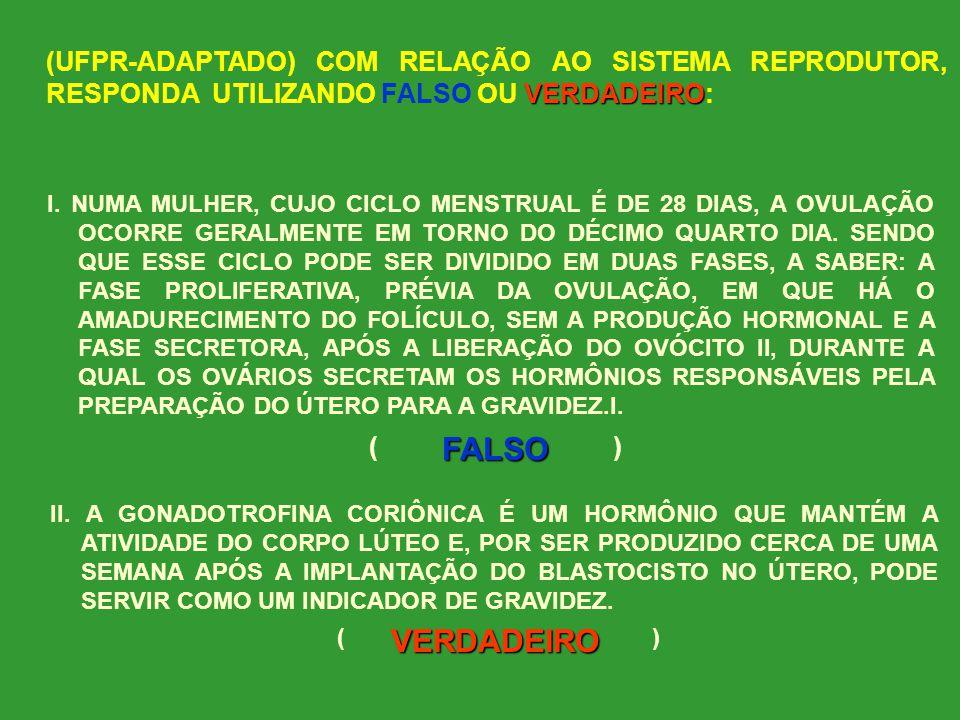 (UFPR-ADAPTADO) COM RELAÇÃO AO SISTEMA REPRODUTOR, RESPONDA UTILIZANDO FALSO OU VERDADEIRO: