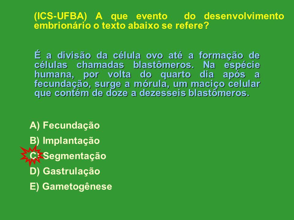 (ICS-UFBA) A que evento do desenvolvimento embrionário o texto abaixo se refere